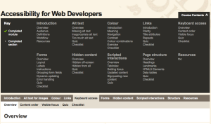 Web Accessibility contents menu