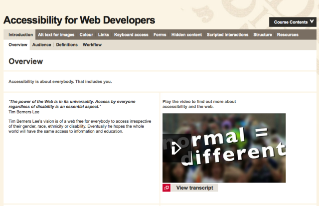 Web Accessibility first page